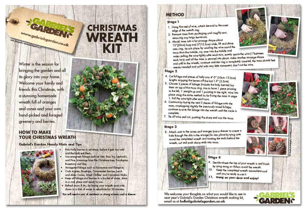 Instruction leaflet for wreath making kit