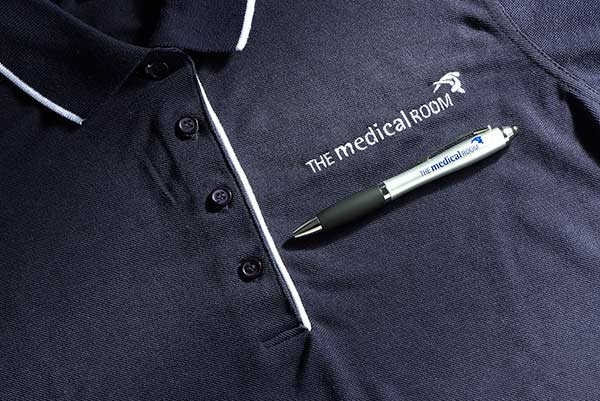 Branded The Medical Room polo shirts and pens