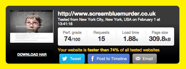 Kissmetrics screen grab of speed result