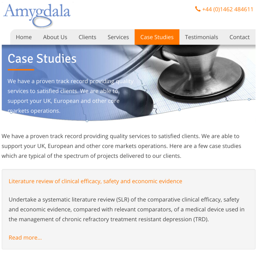 Screengrab from the Case studies page of amygdala UK website