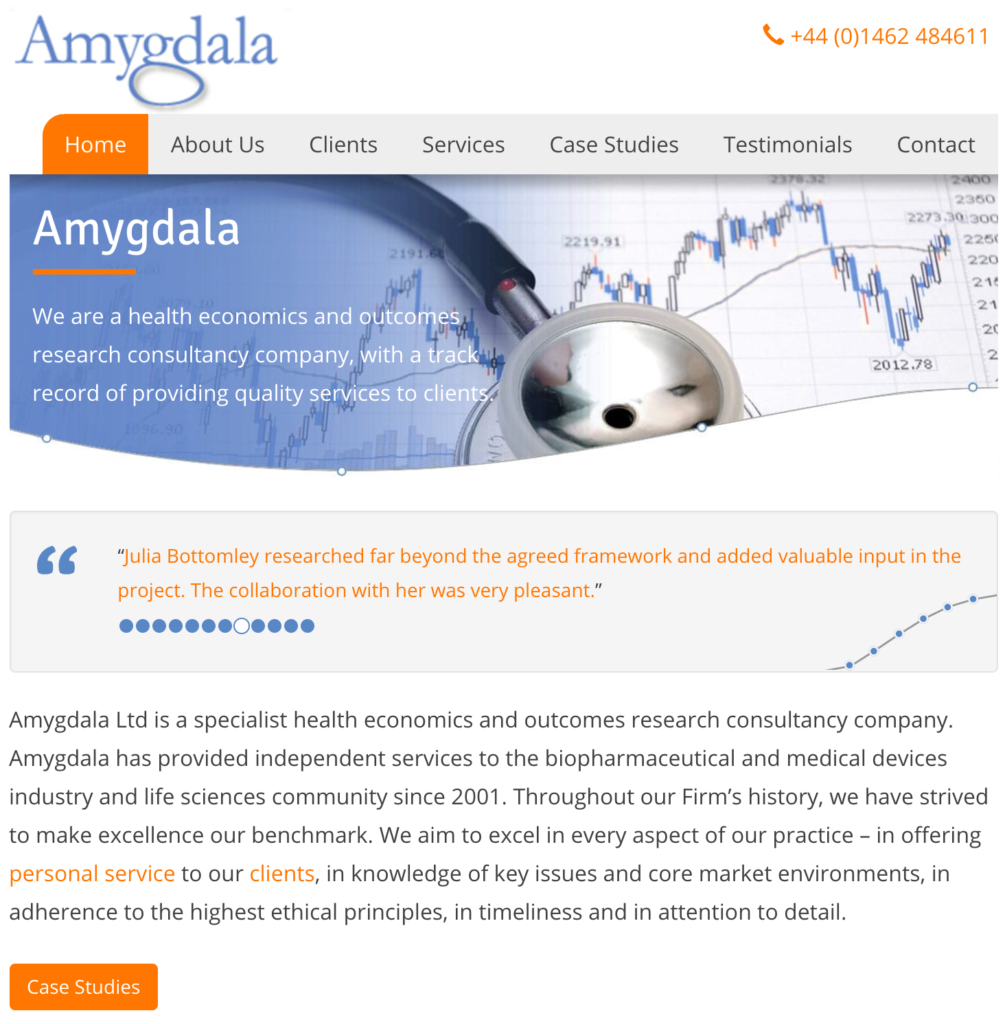 Home screen from Amygdala Uk Ltd