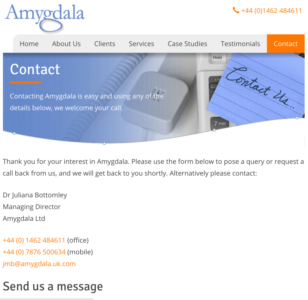 Screengrab from the Contact Us page of Amygdala UK Ltd website