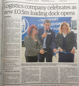 Newspaper article of Anglia Freight celebrating the opening their new loading dock