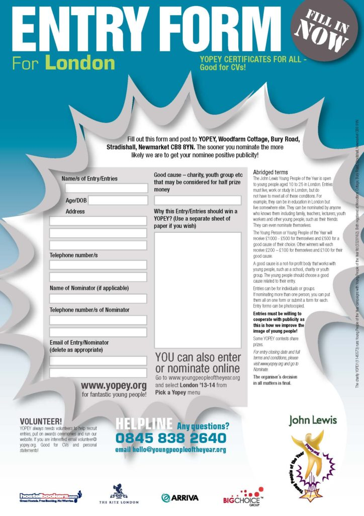 Entry Form for the London Young People of the Year Awards 2013