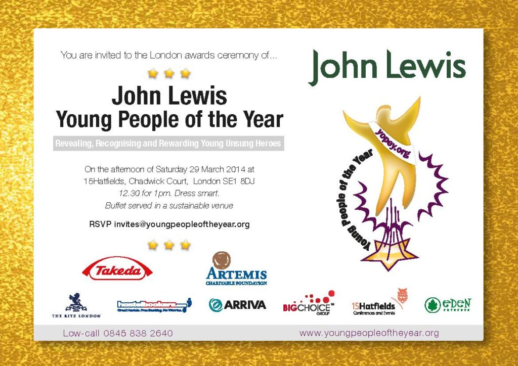 Invitation to the London John Lewis Young People of the Year 2014