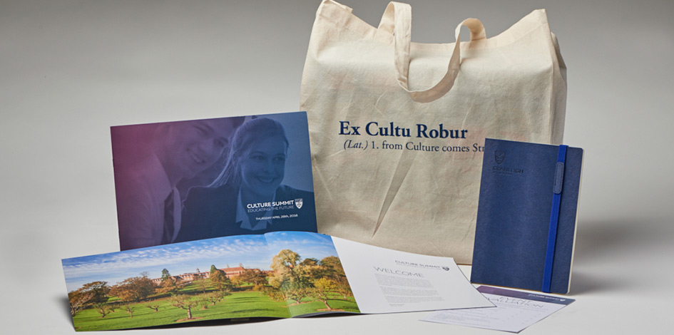 Collective Photo of marketing materials for the Cranleigh Culture Summit 2016