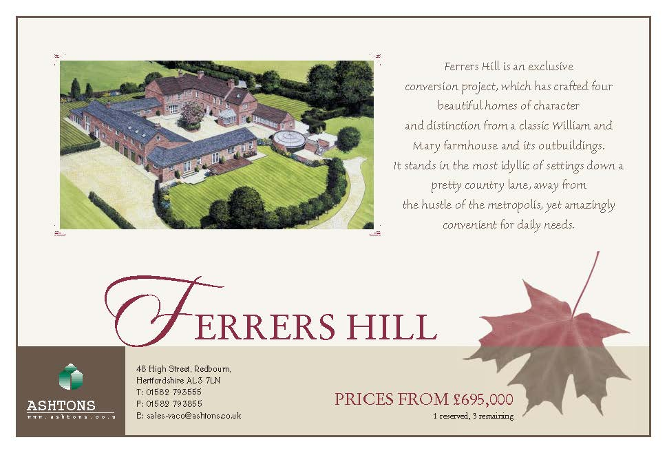Ferrers Hill Half page Advert