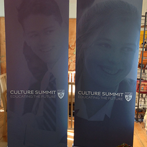2 Pop-up banners for The Culture Summit, held at Cranleigh School created by Scream Blue Murder