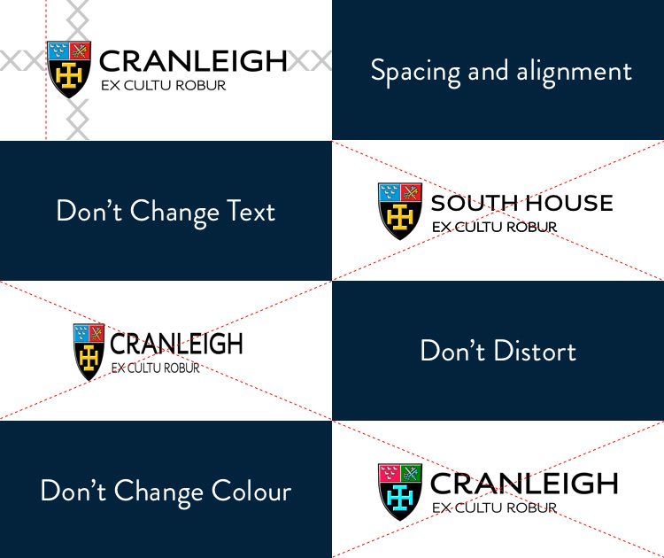 Examples of brand guidelines for Cranleigh School logo
