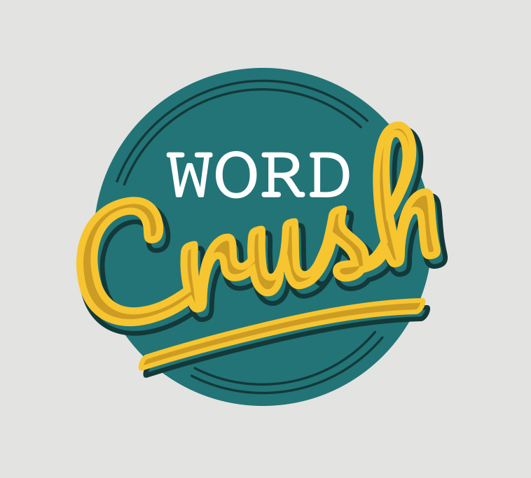 website revamp and logo redesign for copywriter Word Crush using bold colours and typography elements